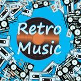 audiocassettes van toestellen de audiobandrecorders en vinylverslagen van de de jaren '80jaren '90 van jaren '60jaren '70 Vector  stock illustratie