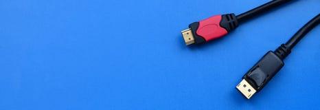 Audiocomputerkabel Stecker und 20 des Videos HDMI stecken männliches DisplayPort fest Stockfoto