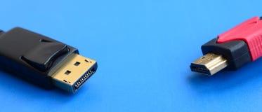 Audiocomputerkabel Stecker und 20 des Videos HDMI stecken männliches DisplayPort fest Lizenzfreies Stockbild