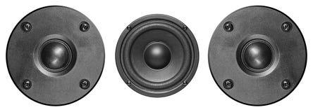 Audiodiemuziekspreker op wit wordt geïsoleerd Royalty-vrije Stock Afbeeldingen