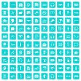 100 Audioikonen stellten Schmutz blau ein Stockfoto