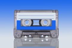 Audiokassette auf cyan-blauem Hintergrund stockfotografie