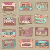 Audiokassette. nahtloses Muster Stockfotografie
