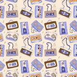 Audiokassette Nahtloses Muster Stockbilder