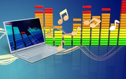 Audiolaptop-computer des spektrums 3d Stockbild