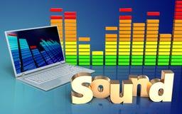 Audiolaptop-computer des spektrums 3d Lizenzfreies Stockfoto