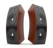 Audiolautsprecher. Akustisches System 3D. auf Weiß Stockfotos