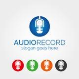 Audiomikrofonaufzeichnungslogo Stockfotos
