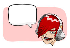 Audiophile. A hand drawn vector illustration of a cartoon character listening to musing through headphones, isolated on a simple background and textbox (editable stock illustration