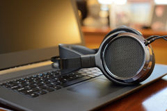 Audiophile Headphones with Laptop PC computer Royalty Free Stock Image