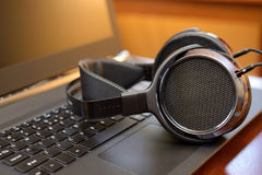 Audiophile Headphones with Laptop PC computer Stock Photography
