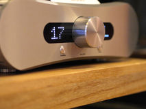 Audiophile HiFi amplifier with volume control knob. Royalty Free Stock Photo