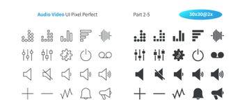 Audiopixel-perfekter Gut-in Handarbeit gemachter Vektor des Video-UI zeichnen dünn und festes Gitter 2x der Ikonen-30 für Netz Gr vektor abbildung