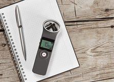 Audiorecorder mit externem Mikrofon Stockbilder