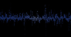 Audioschallwellen des blauen digitalen Entzerrers auf schwarzem Hintergrund, Stereo-Sound-Effektsignal mit vertikalen Linien mit  lizenzfreie abbildung