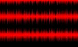 Audioschallwellen des roten digitalen Entzerrers auf schwarzem Hintergrund, stockbild