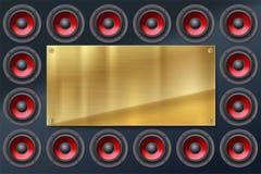 Audiosprecher, Subwoofers, Wand des soliden Lautsprechers mit dem roten Diffusor lokalisiert auf dunklem Hintergrund Lizenzfreies Stockbild