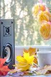 Audiosprecher und gelbe Rosen mit Ahornblättern nähern sich Fenster stockfotos