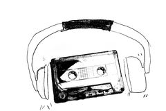 Audiotape and headphone draw on white. Background vector illustration