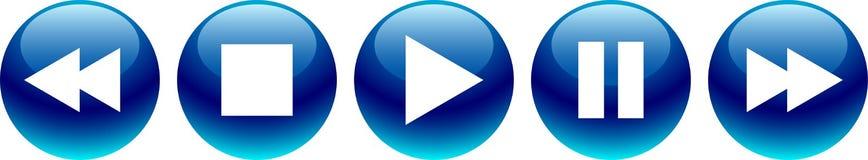 Audiovideo-player knöpft Blau lizenzfreie abbildung