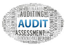 Audit. Info-text graphics and arrangement concept on white background Royalty Free Stock Photos