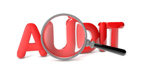 Audit. Render of the text audit and a magnifying glass Stock Images