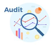 Audit analysis vector flat illustration. Concept of accounting, analysis, audit, financial report. Auditing tax process.  Royalty Free Stock Image