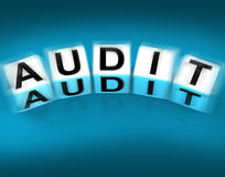 Audit Blocks Displays Investigation Examination and Scrutiny Royalty Free Stock Image