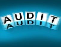Audit Blocks Displays Investigation Examination and Scrutiny. Audit Blocks Displaying Investigation Examination and Scrutiny Royalty Free Stock Image