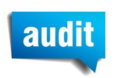 Audit blue 3d realistic paper speech bubble Stock Image