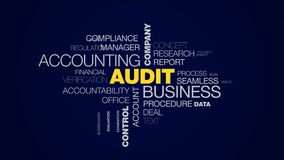 Audit business accounting company finance analysis service success consulting control investment animated word cloud royalty free illustration