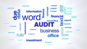 Audit business businessman word finance financial investment information management due text animated word cloud