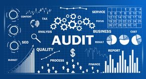 Audit. Business charts with words. Business concept stock illustration