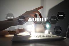 Audit business concept. Auditor. Compliance. Virtual screen technology. Audit business concept. Auditor Compliance. Virtual screen technology stock image