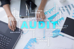 Audit business concept. Auditor. Compliance. Virtual screen technology. Audit business concept Auditor Compliance. Virtual screen technology royalty free stock images