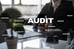 Audit business concept. Auditor. Compliance. Virtual screen technology. Audit business concept Auditor. Compliance. Virtual screen technology Stock Image