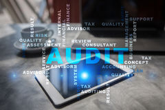 Audit business concept. Auditor. Compliance. Words cloud. Audit business concept. Auditor Compliance. Virtual screen technology. Words cloud Stock Photography