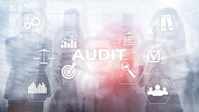 Audit business and finance concept. Analysis Annual Financial Statements, Analyze return on investment. Mixed media abstract stock photo
