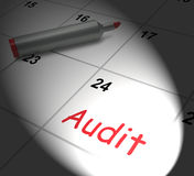 Audit Calendar Displays Inspecting And Verifying Finances Stock Images