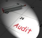 Audit Calendar Displays Inspecting And Verifying Finances. Audit Calendar Displaying Inspecting And Verifying Finances Stock Images