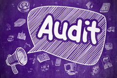 Audit - Cartoon Illustration on Purple Chalkboard. Screaming Megaphone with Inscription Audit on Speech Bubble. Doodle Illustration. Business Concept. Business Royalty Free Stock Image