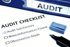 Audit checklist. Isolated on white stock images