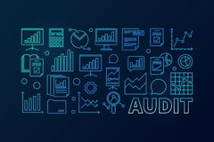 Audit concept blue business illustration. Vector financial audit horizontal linear banner on dark background Royalty Free Stock Images