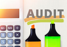 Audit concept. Calculator and highlighters Stock Photography