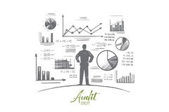 Audit concept. Hand drawn isolated vector. Audit concept. Hand drawn person near wall with charts and diagrams. Auditing business process isolated vector Royalty Free Stock Photo