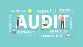 Audit concept illustration. Idea of taxes, examination and control Stock Photo