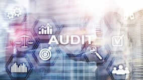Audit Conduct an official financial examination of individuals or organizations accounts. Business concept on virtual screen.  royalty free stock photos