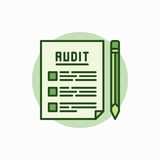 Audit documents green icon. Vector document with pencil concept flat symbol. Auditing colored sign Royalty Free Stock Image