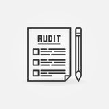 Audit documents outline icon. Vector financial document with pencil concept minimal symbol Royalty Free Stock Photography