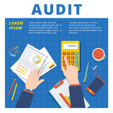 Audit and financial analysis vector concept. Accountant working Royalty Free Stock Photography